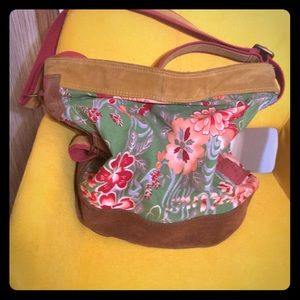 Lucky Brand Hobo Bucket Bag Floral Suede Large Bag